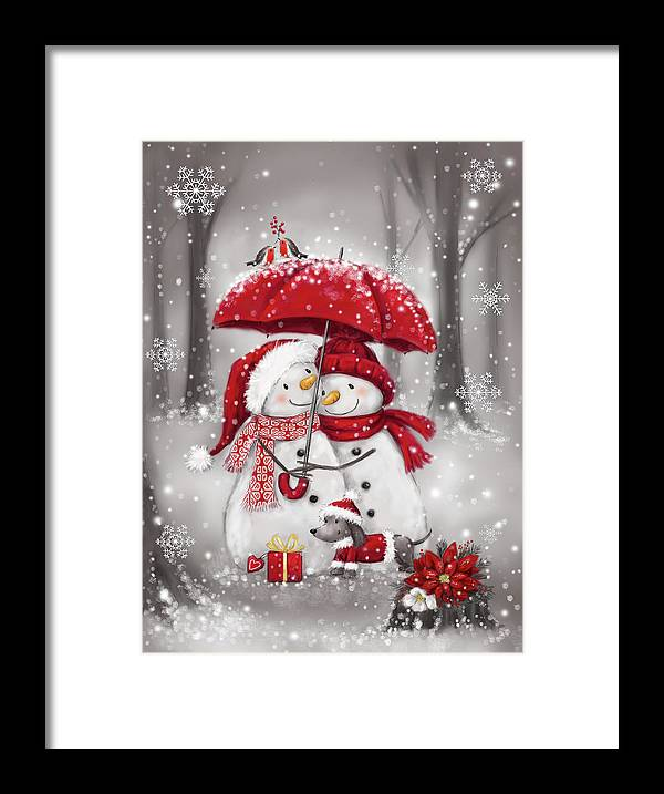 Snowmen With Umbrella 4 Framed Print featuring the mixed media Snowmen With Umbrella 4 by Makiko