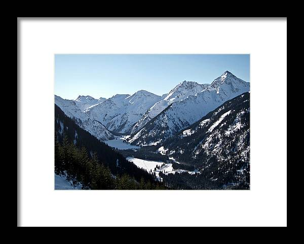Tranquility Framed Print featuring the photograph Snowy Meadow  Lake by By Andreas Metz