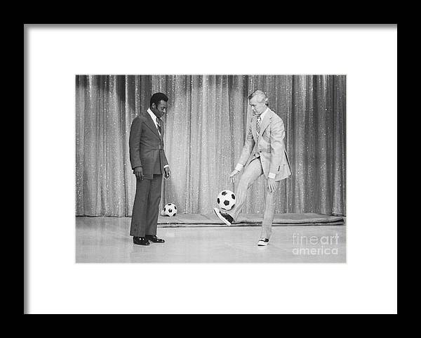 Pelé Framed Print featuring the photograph Soccer Player Pele On Johnny Carsons by Bettmann