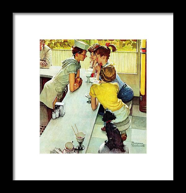 Counterman Framed Print featuring the drawing Soda Jerk by Norman Rockwell