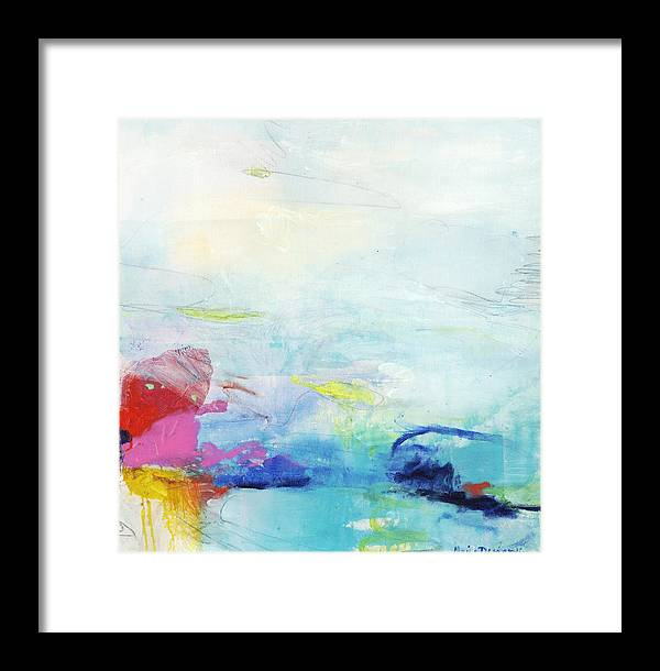Abstract Framed Print featuring the painting Somewhere Else by Claire Desjardins