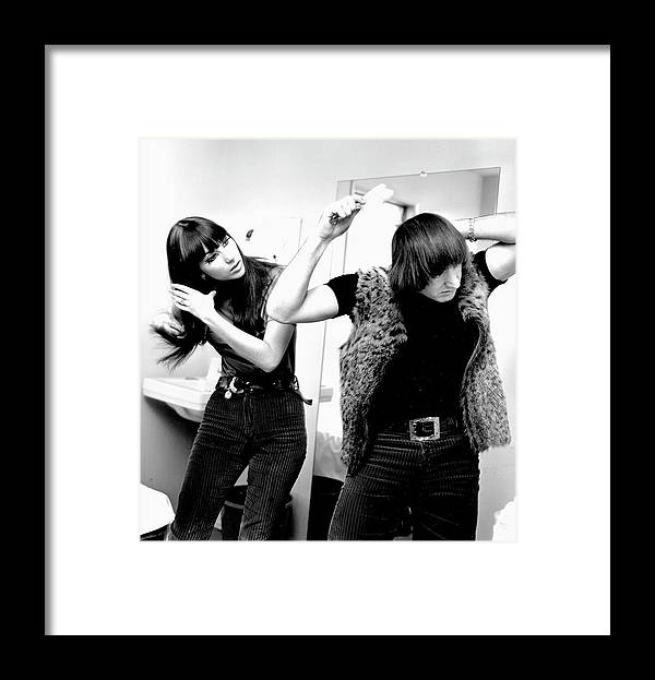 Event Framed Print featuring the photograph Sonny & Cher Portrait Session by Michael Ochs Archives