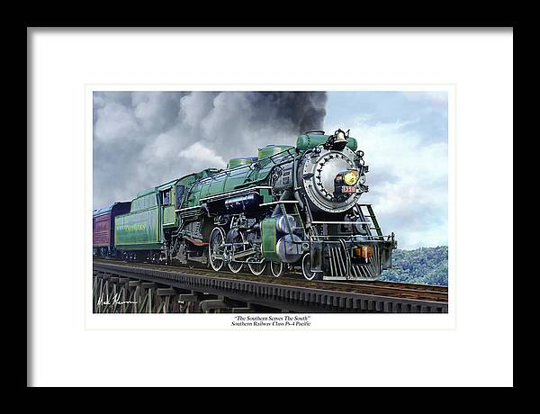 Railraod Framed Print featuring the painting Southern Railway Class Ps-4 Pacific by Mark Karvon