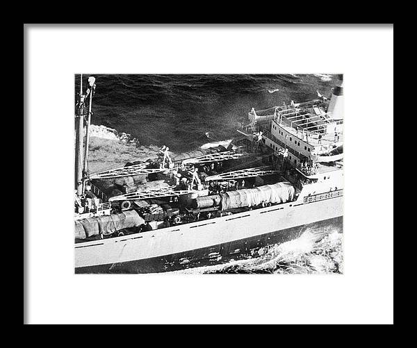 Container Ship Framed Print featuring the photograph Soviet Freighter With Missiles by Bettmann