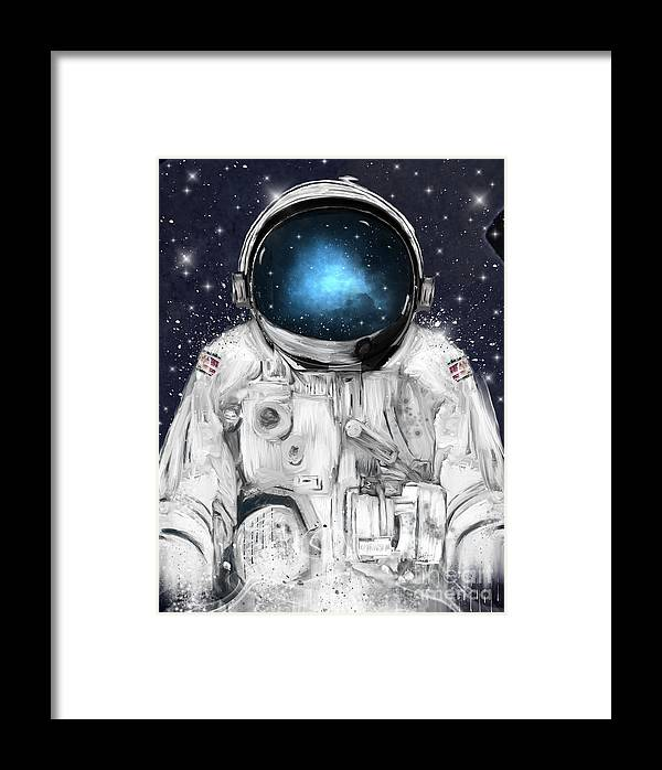 Astronauts Framed Print featuring the painting Space Adventurer by Bri Buckley