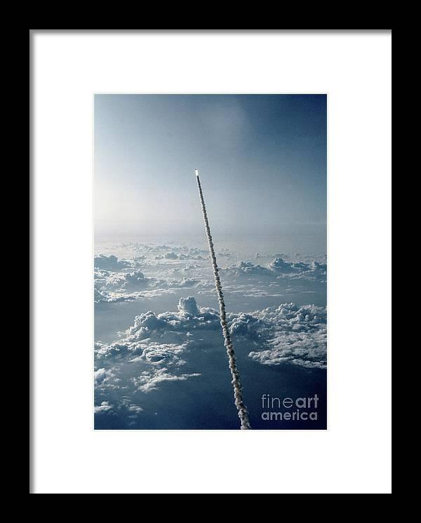 Space Shuttle Challenger Leaving Earth Framed Print By Bettmann