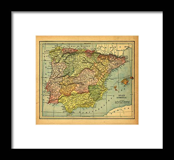 Weathered Framed Print featuring the photograph Spain & Portugal Vintage Map by Belterz