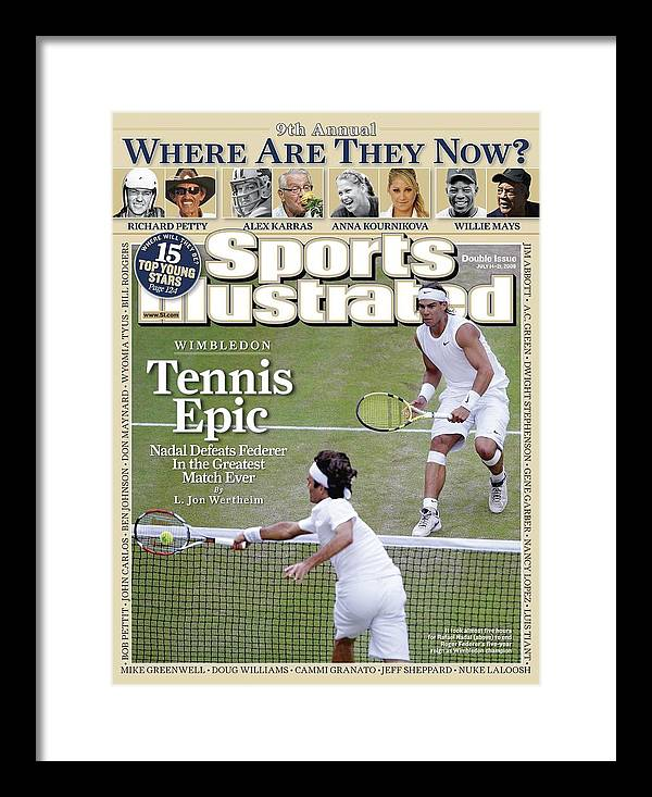 Magazine Cover Framed Print featuring the photograph Spain Rafael Nadal And Switzerland Roger Federer, 2008 Sports Illustrated Cover by Sports Illustrated