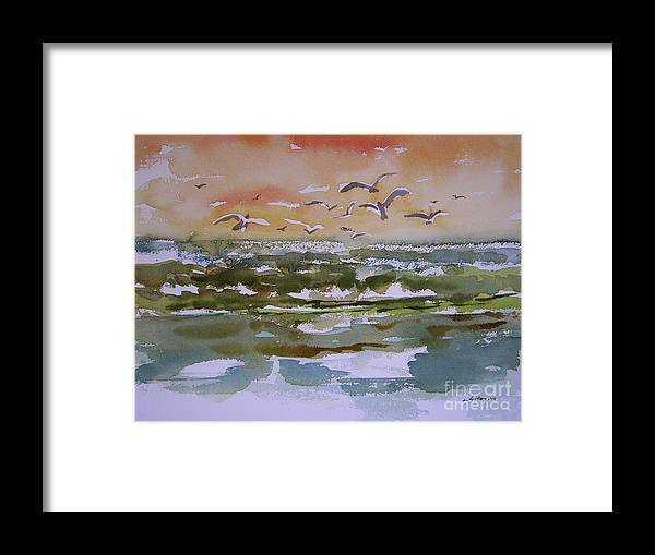 Watercolor Paintings Of Sparkling Waves Framed Print featuring the painting Sparkling Surf by Julianne Felton