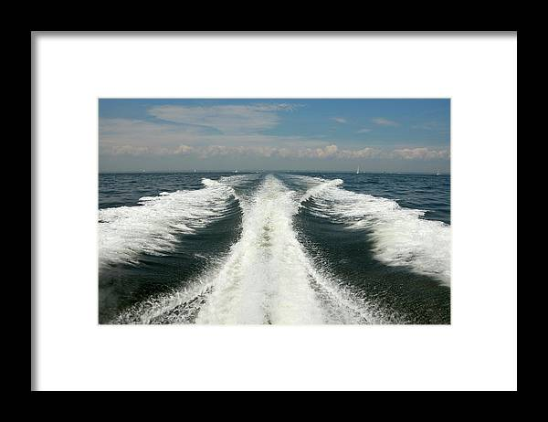 Scenics Framed Print featuring the photograph Speed Boat Wake by Ishootphotosllc