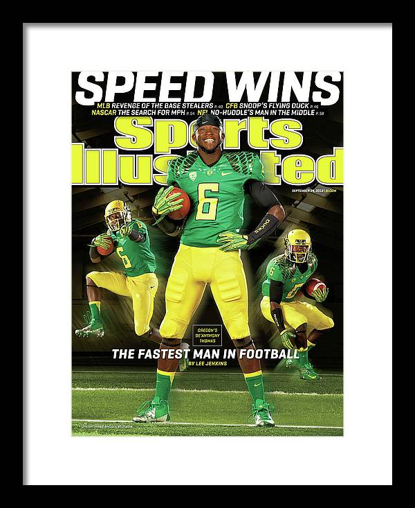 Magazine Cover Framed Print featuring the photograph Speed Wins Oregons Deanthony Thomas, The Fastest Man In Sports Illustrated Cover by Sports Illustrated