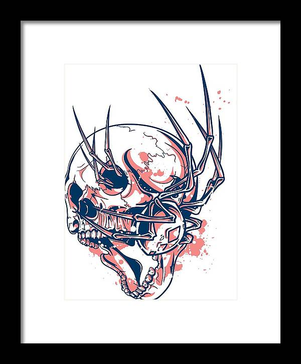 Halloween Framed Print featuring the digital art Spider Crawling Skull by Passion Loft