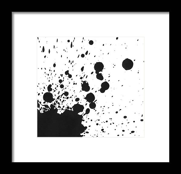 Art Framed Print featuring the photograph Splattered Black Paint On White Canvas by Kevinruss