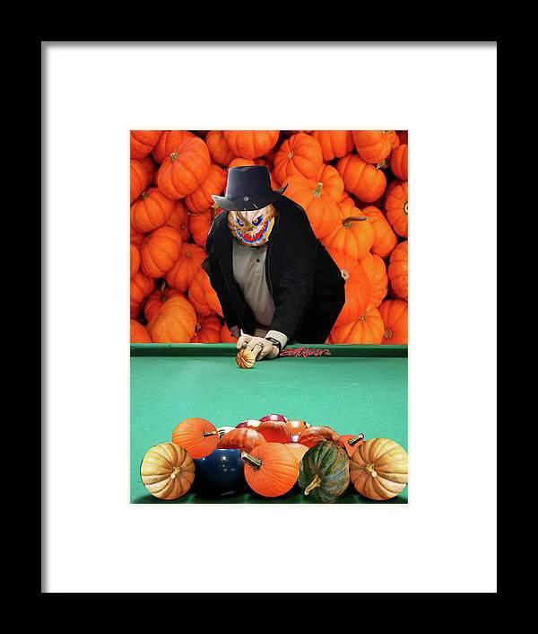 Spooky Pumpkin Pool Framed Print featuring the digital art Spooky Pumpkin Pool by Seth Weaver