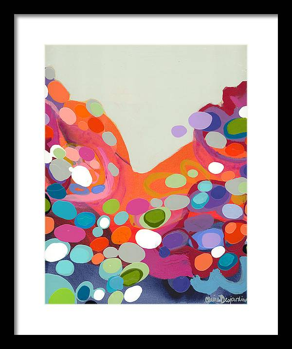 Abstract Framed Print featuring the painting Spoonful Of Joy by Claire Desjardins