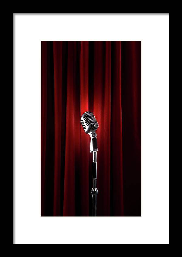 Microphone Stand Framed Print featuring the photograph Spotlit Microphone Against Red Velvet by Tooga