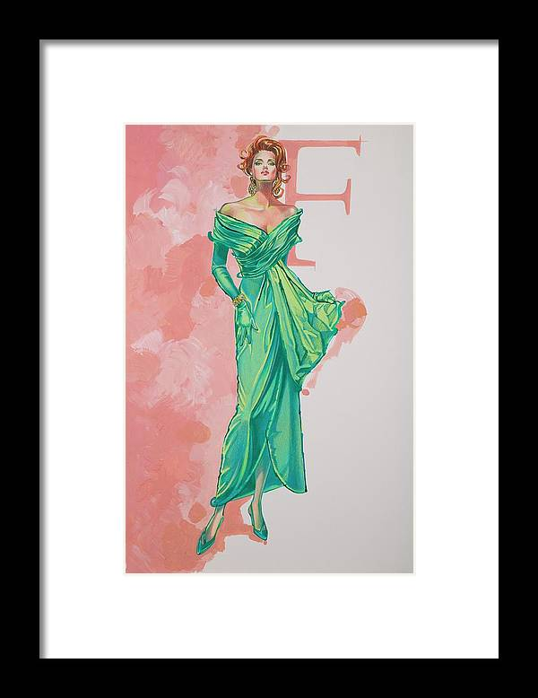 Fashion Illustration Framed Print featuring the painting Spring Fling by Barbara Tyler Ahlfield