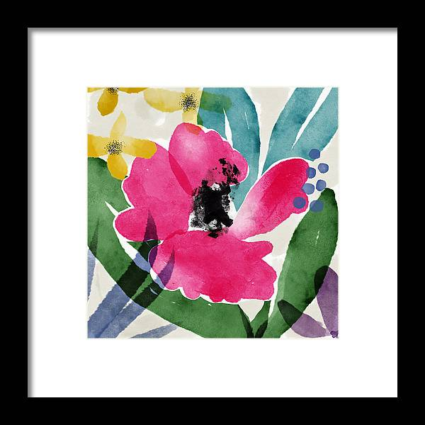 Garden Framed Print featuring the mixed media Spring Garden Pink- Floral Art By Linda Woods by Linda Woods