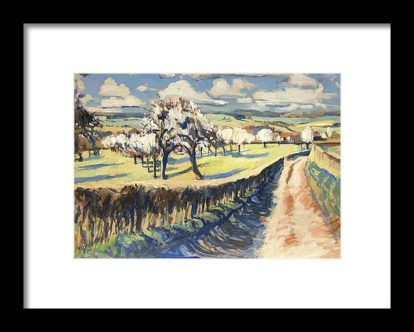 Bellet Framed Print featuring the painting Spring In The Bellet Fruit Orchard by Nop Briex