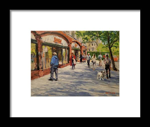 Urban Landscape Framed Print featuring the painting Spring Morning Near Zabar's by Peter Salwen