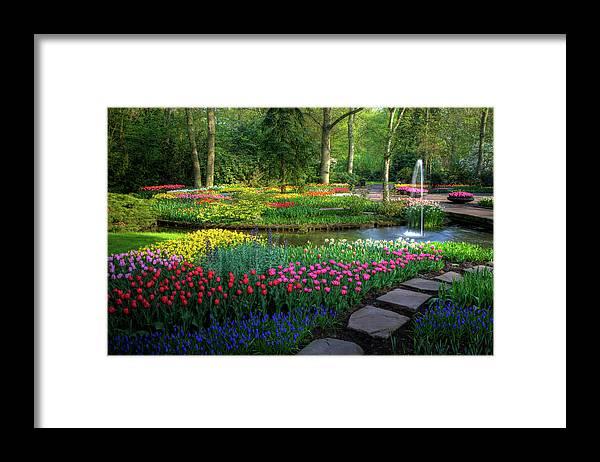 Netherlands Framed Print featuring the photograph Springtime Keukenhof Gardens With by Darrell Gulin