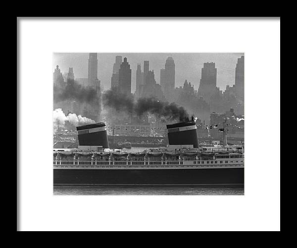 1950-1959 Framed Print featuring the photograph S.s. United States Sailing In New York by Andreas Feininger