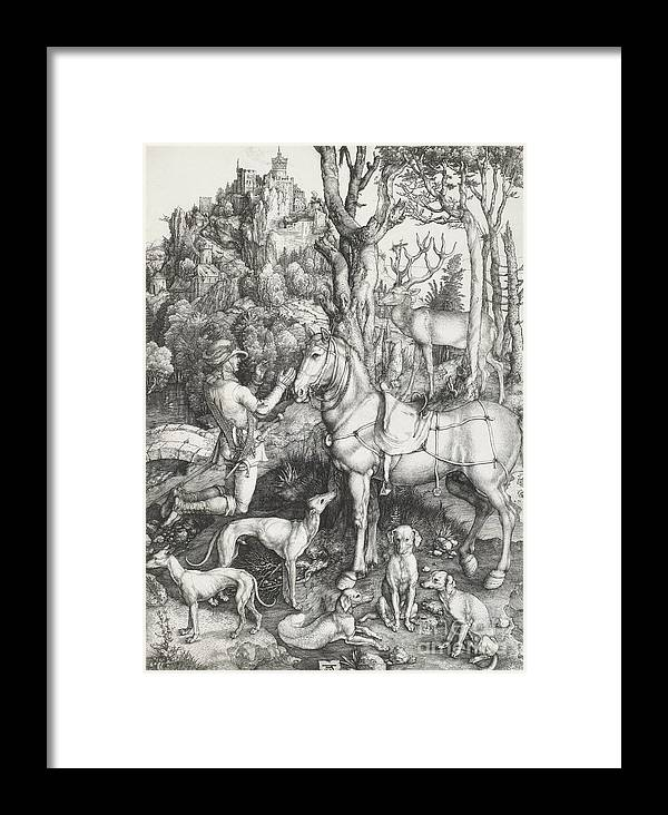 Dog Framed Print featuring the drawing St Eustace by Albrecht Durer