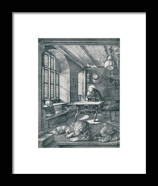 Working Framed Print featuring the drawing St Jerome In His Study, 1514 1906 by Print Collector