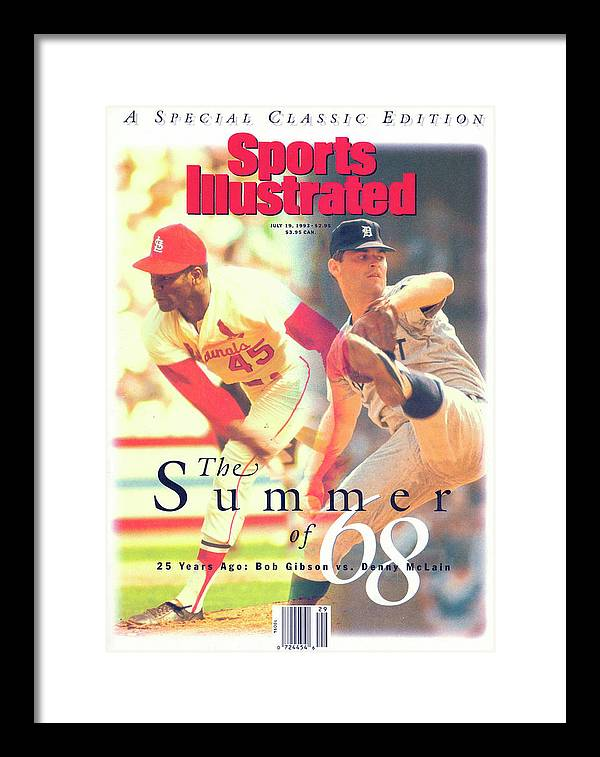 St. Louis Cardinals Framed Print featuring the photograph St. Louis Cardinals Bob Gibson And Detroit Tigers Denny Sports Illustrated Cover by Sports Illustrated