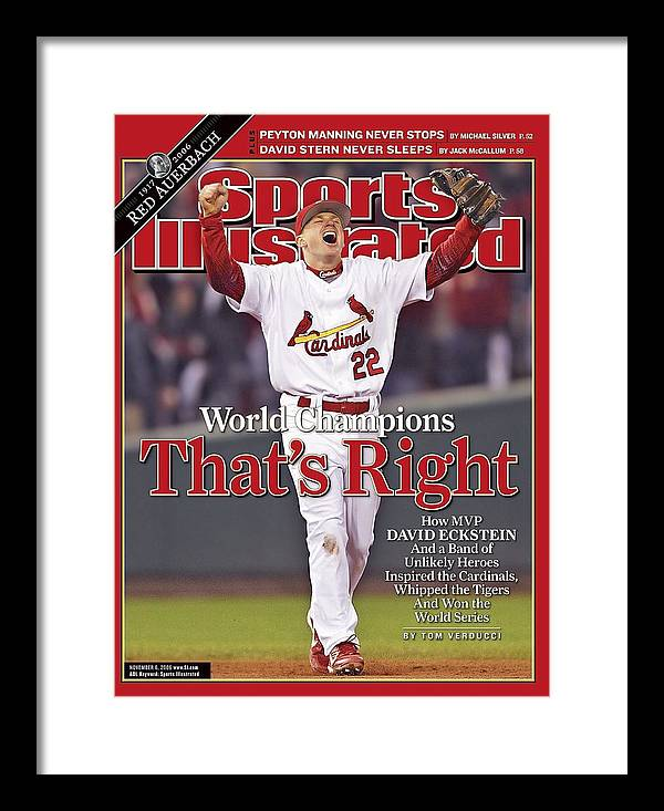 St. Louis Cardinals Framed Print featuring the photograph St. Louis Cardinals David Eckstein, 2006 World Series Sports Illustrated Cover by Sports Illustrated