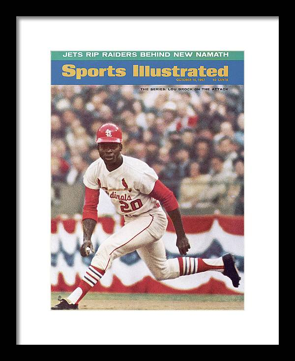 St. Louis Cardinals Framed Print featuring the photograph St. Louis Cardinals Lou Brock, 1967 World Series Sports Illustrated Cover by Sports Illustrated