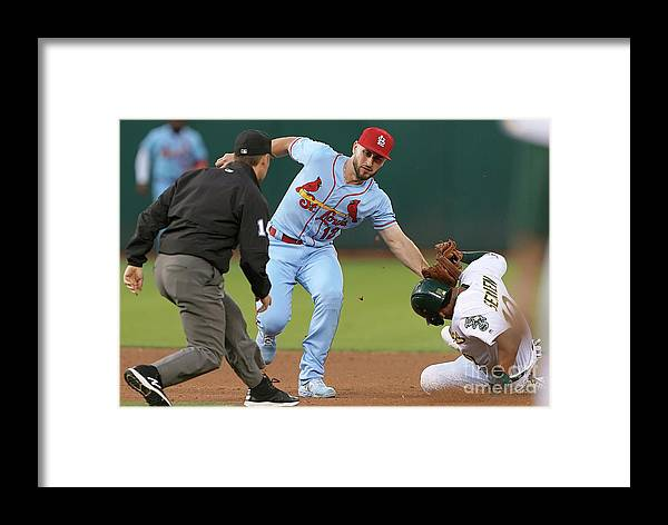 St. Louis Cardinals Framed Print featuring the photograph St Louis Cardinals V Oakland Athletics by Thearon W. Henderson