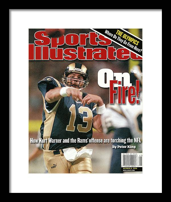 Magazine Cover Framed Print featuring the photograph St. Louis Rams Qb Kurt Warner... Sports Illustrated Cover by Sports Illustrated