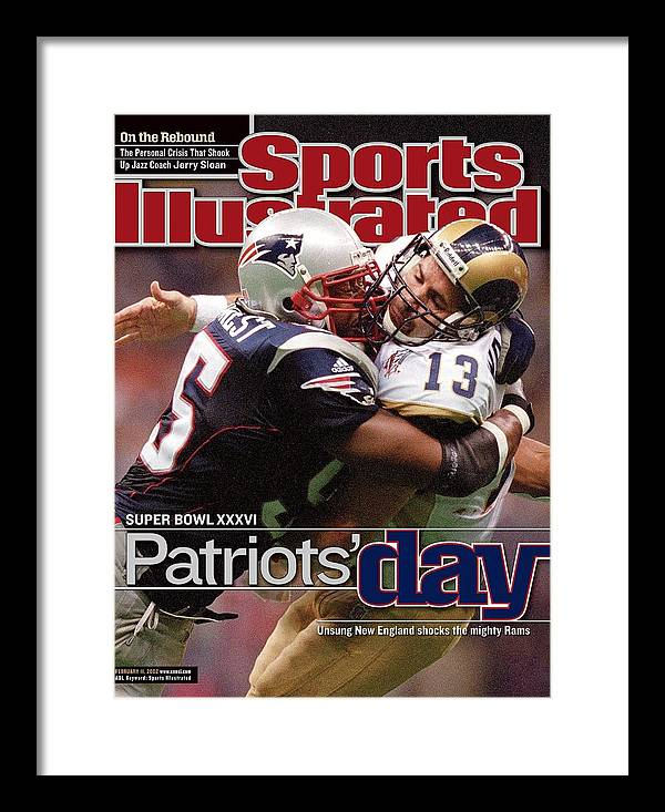 New England Patriots Framed Print featuring the photograph St. Louis Rams Qb Kurt Warner, Super Bowl Xxxvi Sports Illustrated Cover by Sports Illustrated