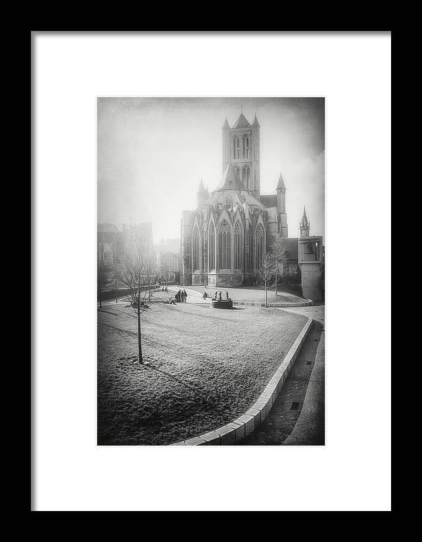 Ghent Framed Print featuring the photograph St Nicholas Church Ghent Belgium Black And White by Carol Japp