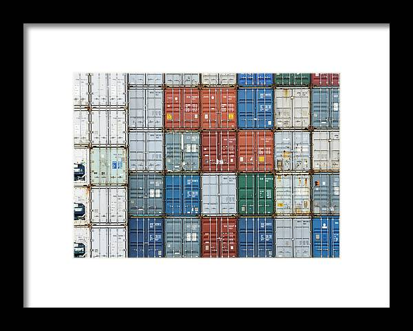 Trading Framed Print featuring the photograph Stack Of Cargo Containers Full Frame by Andy Andrews