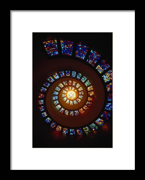 Directly Below Framed Print featuring the photograph Stained Glass Window, Thanksgiving by John Elk Iii