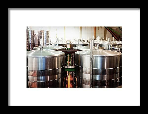 Working Framed Print featuring the photograph Stainless Steel Holding Tanks In A by Rapideye