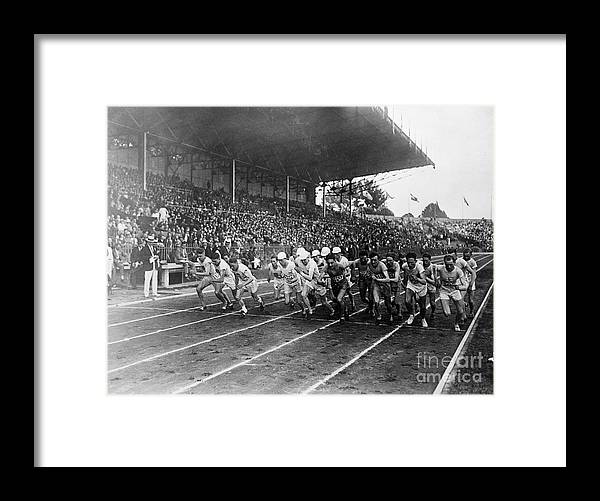 The Olympic Games Framed Print featuring the photograph Start Of 3,000 Meter Olympic Race by Bettmann