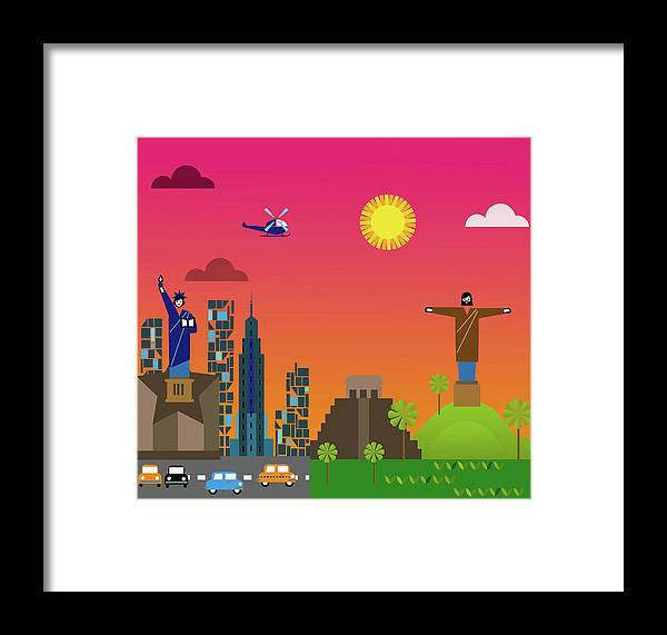 Statue Framed Print featuring the digital art State Of Liberty In New York City Next by Luciano Lozano