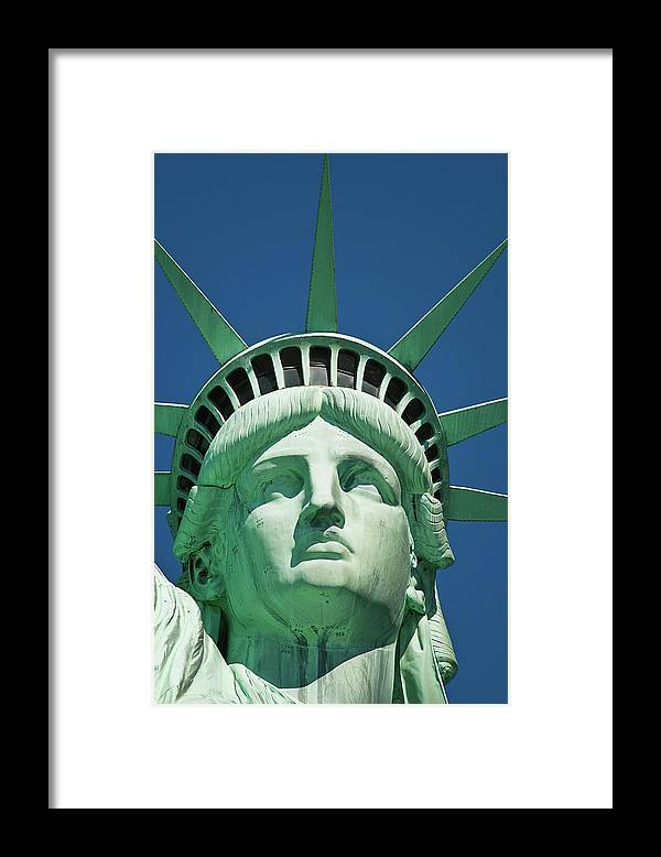 Crown Framed Print featuring the photograph Statue Of Liberty by Tetra Images