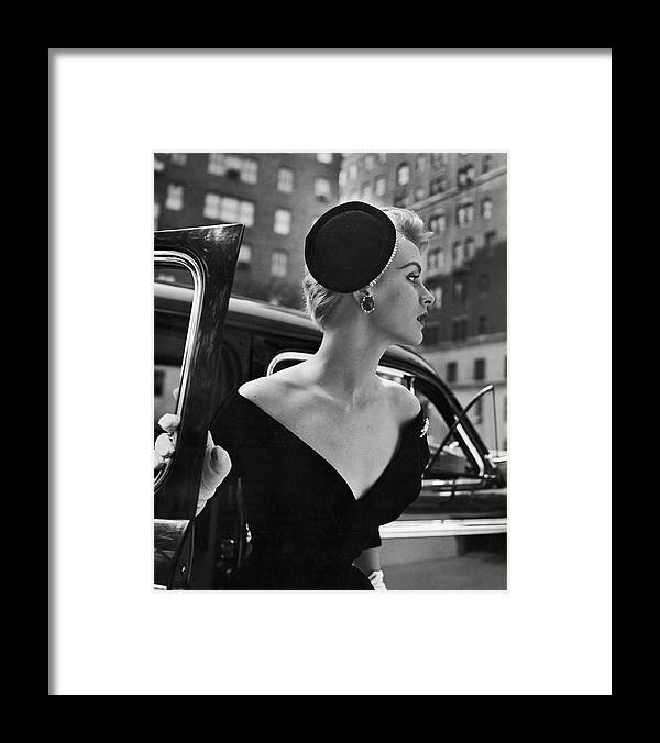 Mid Adult Women Framed Print featuring the photograph Stay Put Hat, Jeweled Version Head Hold by Nina Leen