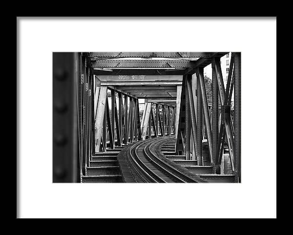 Railroad Track Framed Print featuring the photograph Steel Girder Railway Bridge by Peterjseager