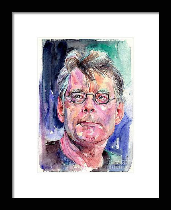 Stephen King Framed Print featuring the painting Stephen King Portrait by Suzann Sines