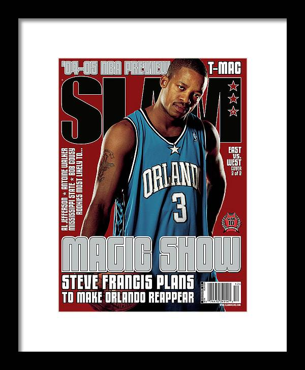 Steve Francis Framed Print featuring the photograph Steve Francis: Magic Show SLAM Cover by Clay Patrick McBride