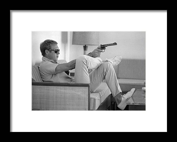Timeincown Framed Print featuring the photograph Steve Mcqueen Takes Aim by John Dominis