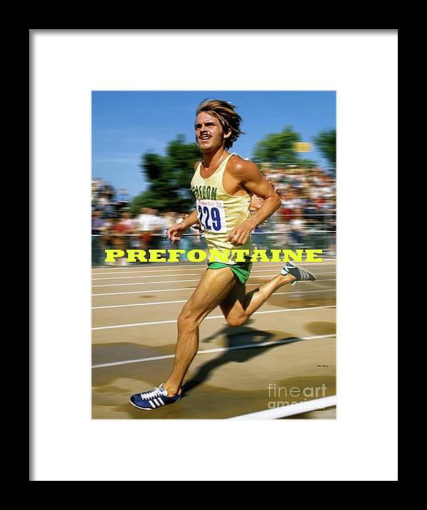 Steve Prefontaine Framed Print featuring the mixed media Steve Prefontaine, the legend, Oregon Ducks, original art and design by Thomas Pollart