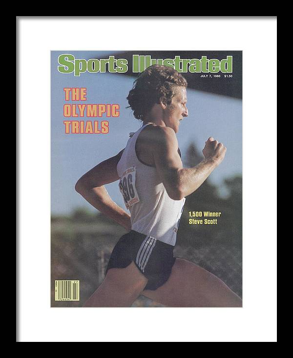 1980-1989 Framed Print featuring the photograph Steve Scott, 1980 Us Olympic Track & Field Trials Sports Illustrated Cover by Sports Illustrated