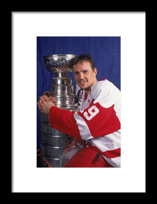Playoffs Framed Print featuring the photograph Steve Yzerman Of The Red Wings by B Bennett