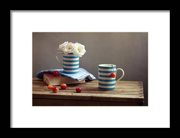 Cherry Framed Print featuring the photograph Still Life With Striped Cups by Copyright Anna Nemoy(xaomena)